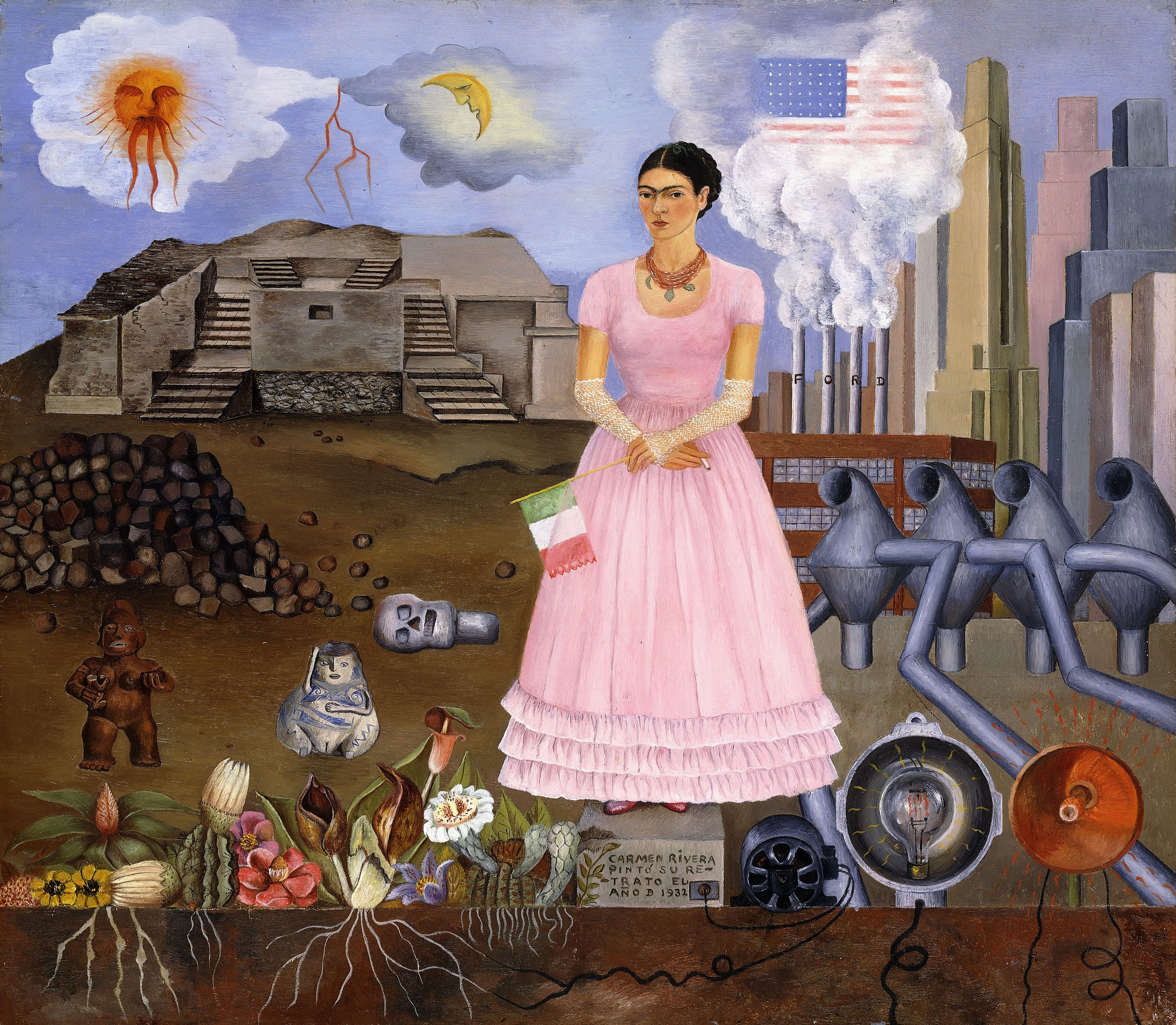 CH991362 Self Portrait on the Border between Mexico and the United States of America, 1932 (oil on tin) by Kahlo, Frida (1907-54); 31x35 cm; Private Collection; (add.info.: Self Portrait on the Border between Mexico and the United States of America; Autorretrato en la Frontera entre Mexico y los Estados Unidos. Frida Kahlo (1910-1954). Oil on tin. Signed and dated 1932. 31 x 35cm.); Photo © Christie's Images; Mexican,  in copyright